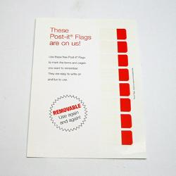 custom post-it tape flags on a sheet